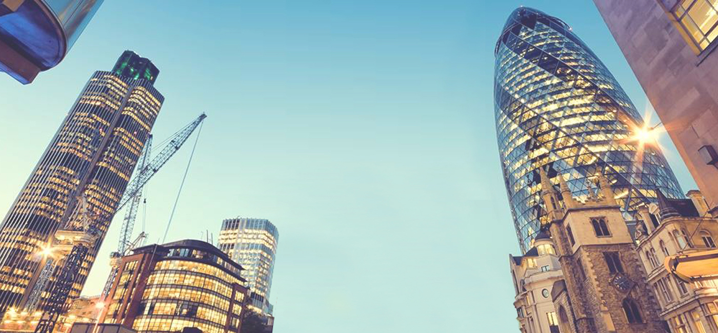 [Header] [Press area] London City skyline view